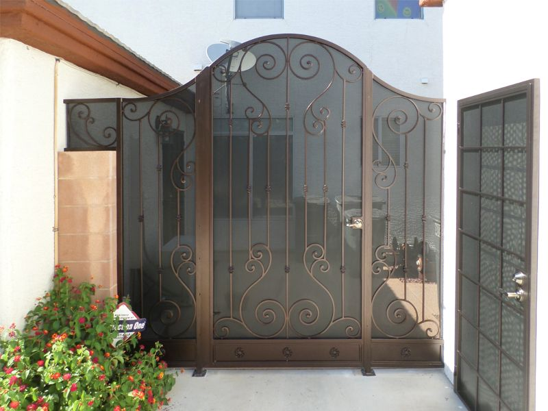 Scrollwork Courtyard & Entryway Gates CE0065A Wrought Iron Design In Las Vegas