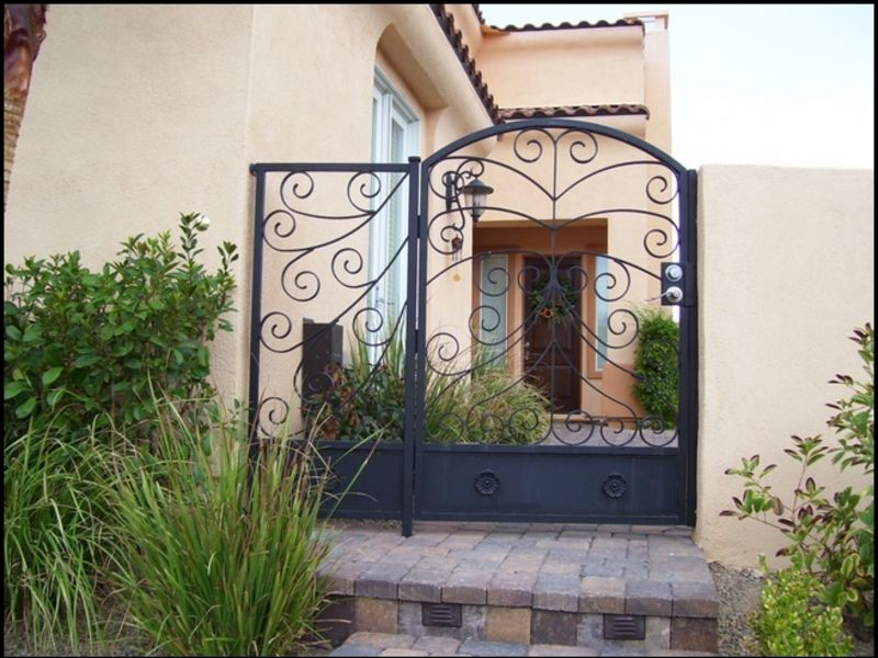 Scrollwork Courtyard & Entryway Gates CE0093 Wrought Iron Design In Las Vegas