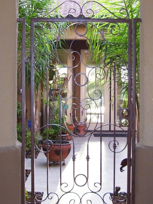 Scrollwork Courtyard & Entryway Gates CE0119 Wrought Iron Design In Las Vegas