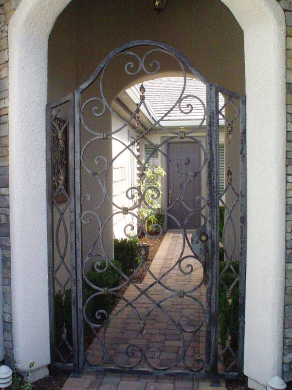 Scrollwork Courtyard & Entryway Gates CE0181 Wrought Iron Design In Las Vegas