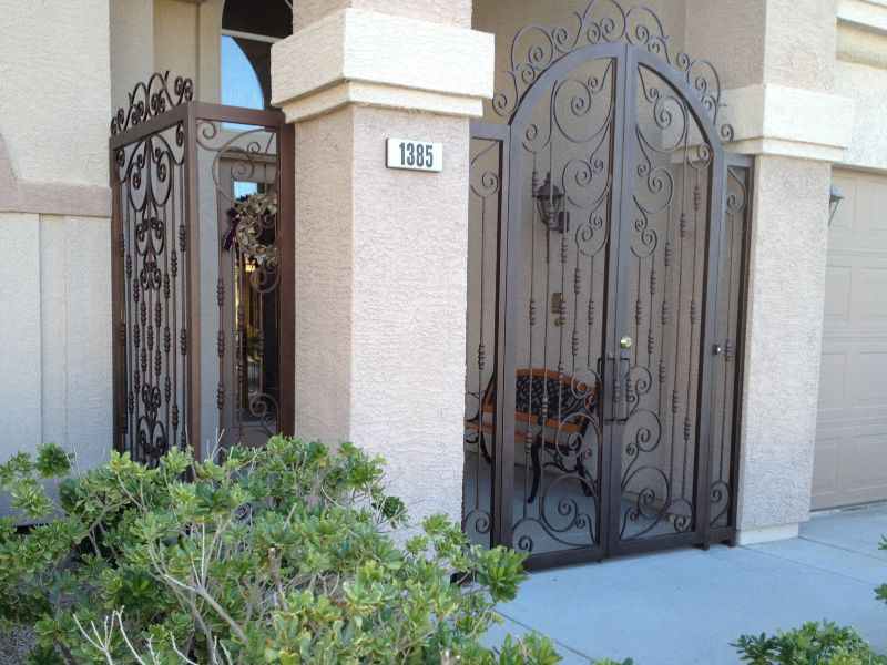 Scrollwork Courtyard & Entryway Gates CE0226 Wrought Iron Design In Las Vegas