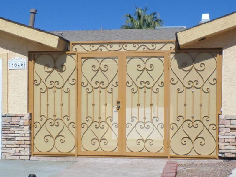 Scrollwork Courtyard & Entryway Gates CE0266 Wrought Iron Design In Las Vegas