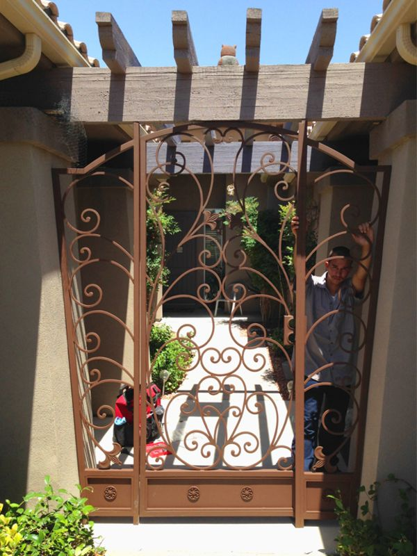 Scrollwork Courtyard & Entryway Gates CE0314 Wrought Iron Design In Las Vegas