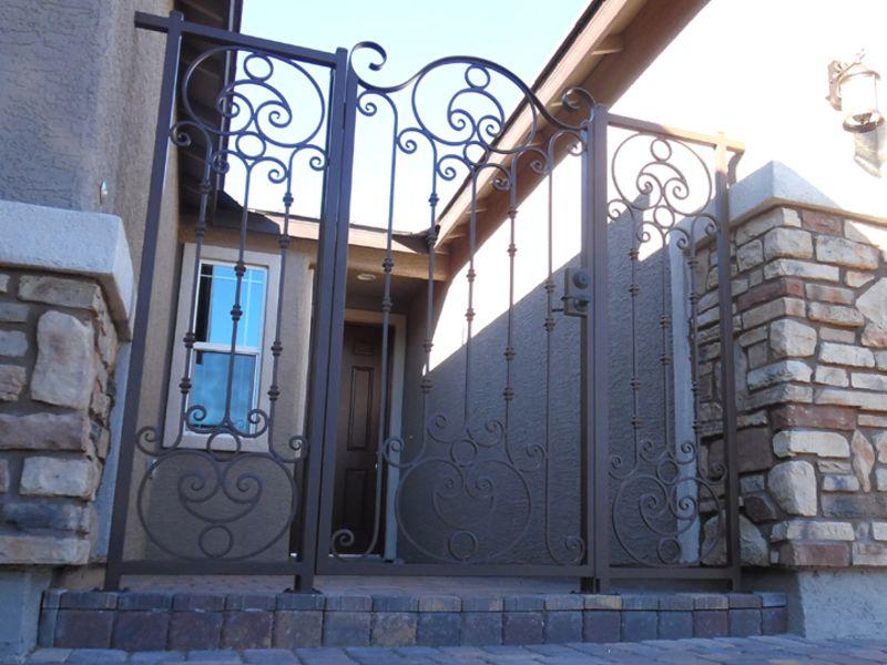 Scrollwork Courtyard & Entryway Gates CE0370 Wrought Iron Design In Las Vegas