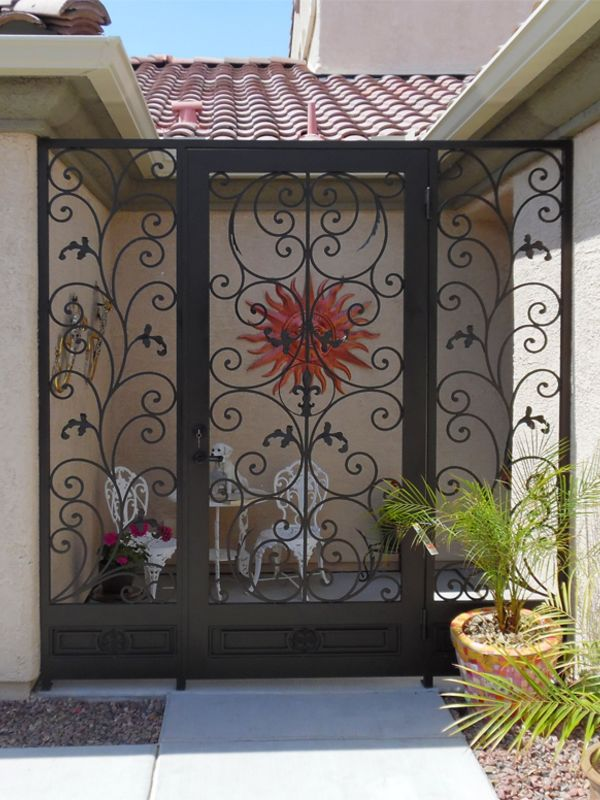 Scrollwork Courtyard & Entryway Gates CE0390 Wrought Iron Design In Las Vegas