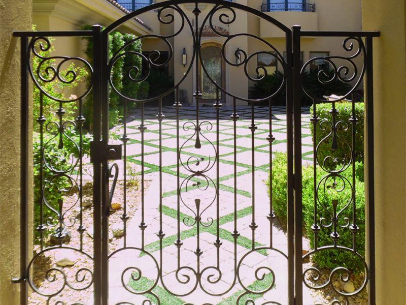 Scrollwork Courtyard & Entryway Gates CE0400 Wrought Iron Design In Las Vegas