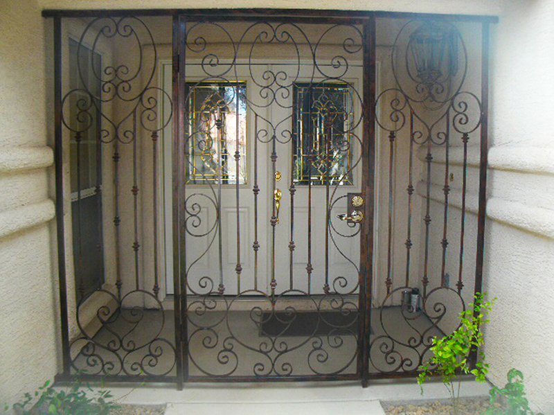 Scrollwork Cappella Entryway Door - Item EW0177 Wrought Iron Design In Las Vegas