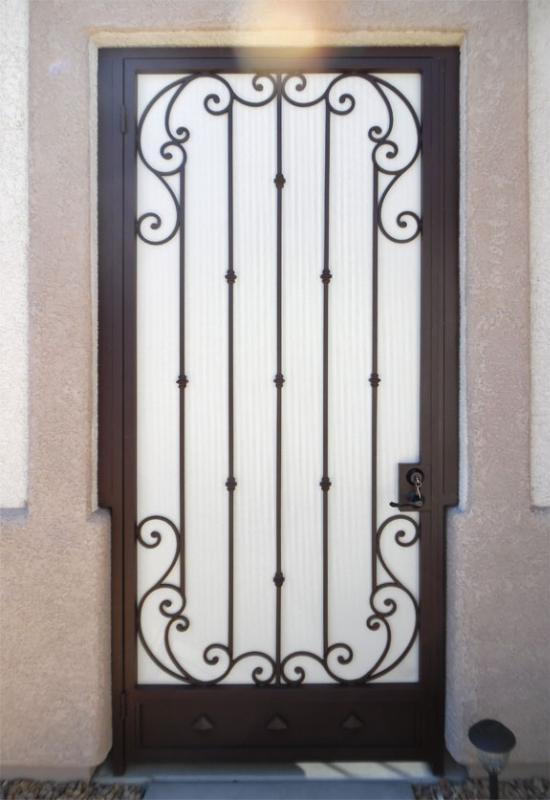 Scrollwork Corsica Entryway Door - Item EW0467 Wrought Iron Design In Las Vegas