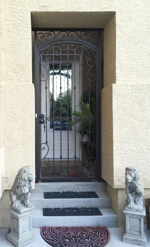 Scrollwork Corsica Entryway Door - Item EW0478 Wrought Iron Design In Las Vegas