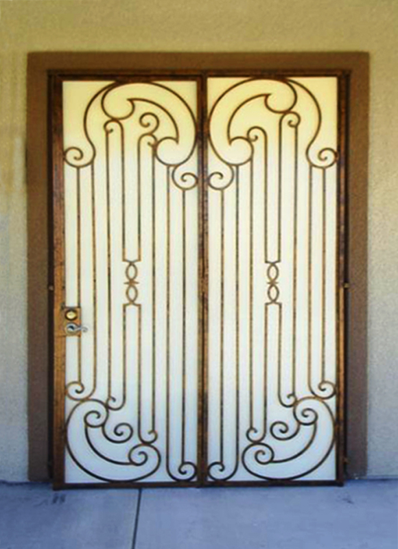 Scrollwork Custom Archive Double Security Door - Item FD0005 Wrought Iron Design In Las Vegas