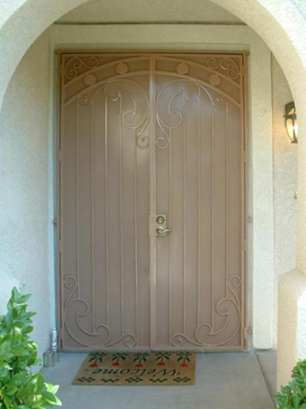 Scrollwork Custom Archive Double Security Door - Item FD0006 Wrought Iron Design In Las Vegas