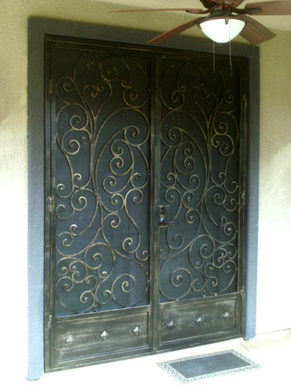 Scrollwork Custom Archive Double Security Door - Item FD0079 Wrought Iron Design In Las Vegas
