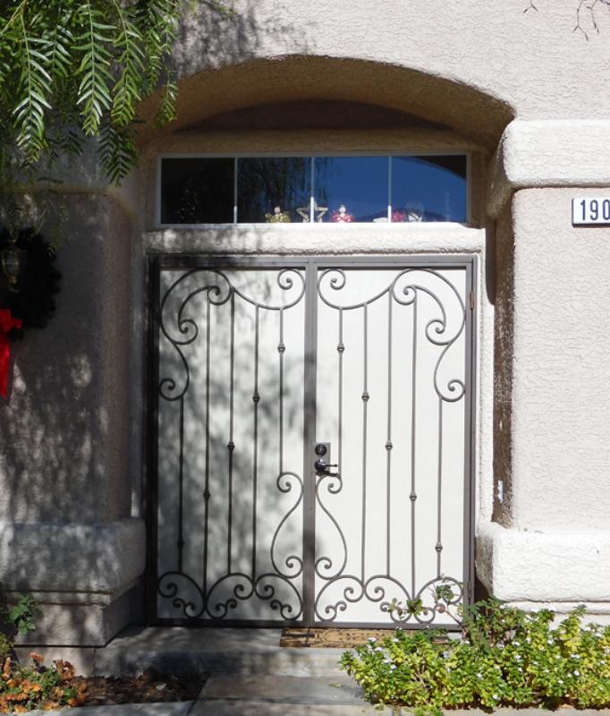 Scrollwork Custom Archive Double Security Door - Item FD0120 Wrought Iron Design In Las Vegas