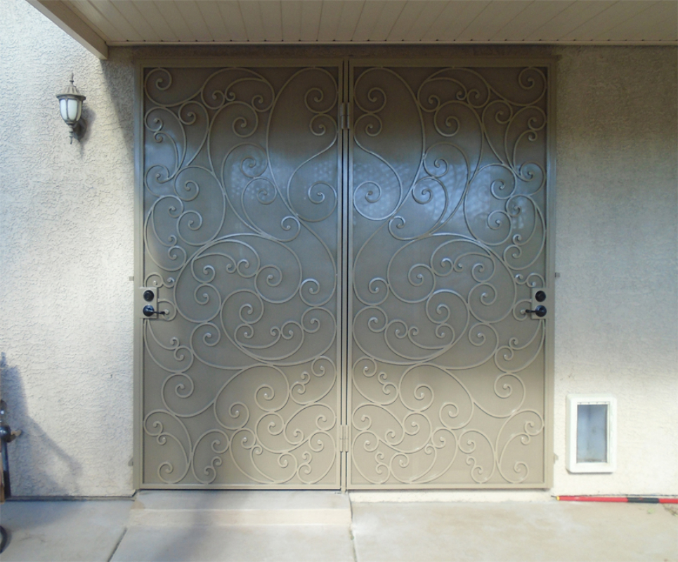 Scrollwork Custom Archive Double Security Door - Item FD0153 Wrought Iron Design In Las Vegas