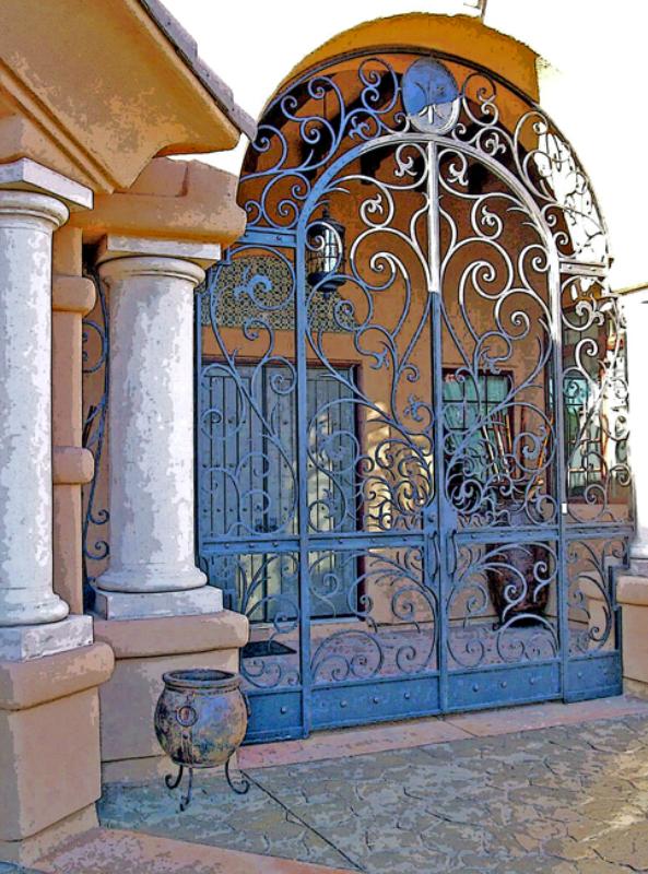 Scrollwork Custom Archive Entryway Door - Item EW0074 Wrought Iron Design In Las Vegas