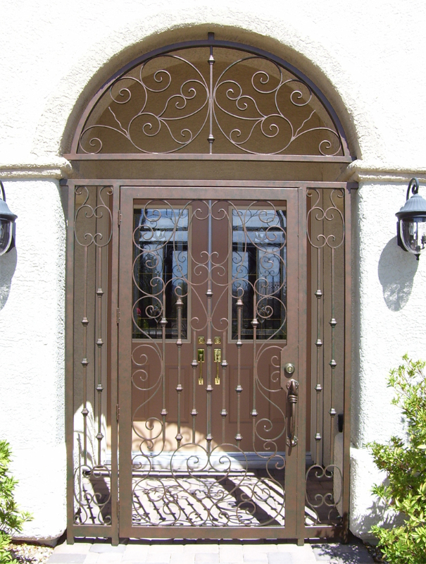 Scrollwork Custom Archive Entryway Door - Item EW0141 Wrought Iron Design In Las Vegas