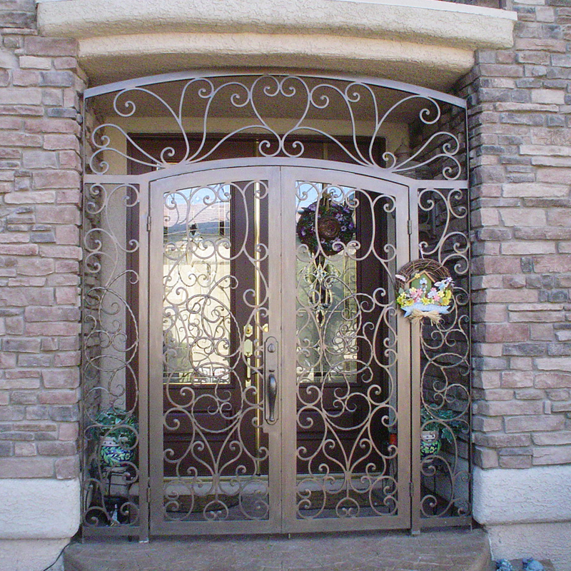 Scrollwork Custom Archive Entryway Door - Item EW0234 Wrought Iron Design In Las Vegas