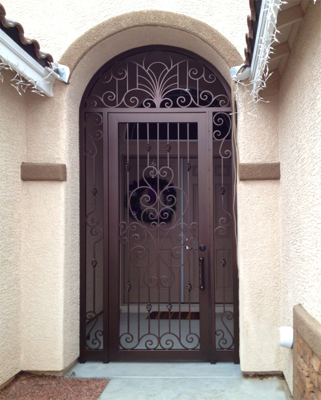 Scrollwork Custom Archive Entryway Door - Item EW0399 Wrought Iron Design In Las Vegas