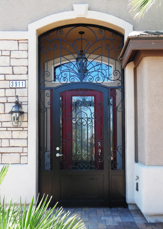 Scrollwork Custom Archive Entryway Door - Item EW0489 Wrought Iron Design In Las Vegas