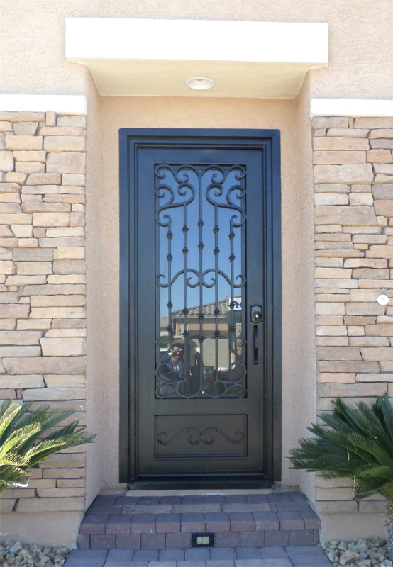 Scrollwork Custom Archive Front Door - Item GE0152 Wrought Iron Design In Las Vegas
