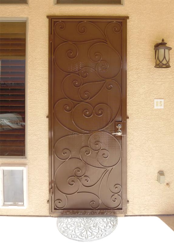 Scrollwork Custom Archive Security Door - Item SD0218 Wrought Iron Design In Las Vegas