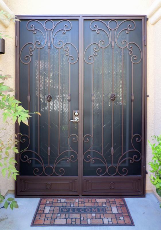 Scrollwork Double Security Door - Item Athena FD0083 Wrought Iron Design In Las Vegas