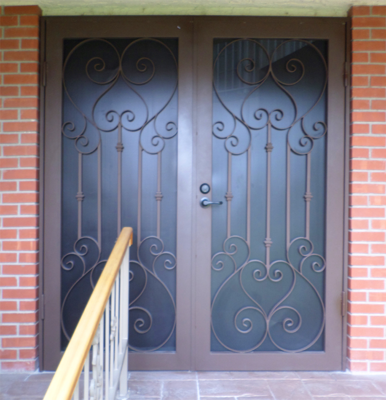 Scrollwork Double Security Door - Item Biscay FD0037B Wrought Iron Design In Las Vegas