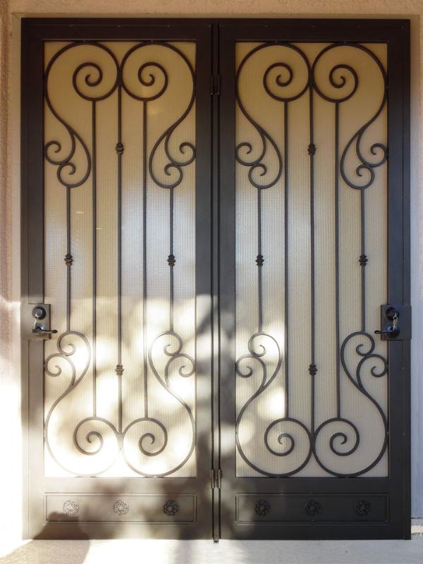 Scrollwork Double Security Door - Item Biscay FD0037C Wrought Iron Design In Las Vegas