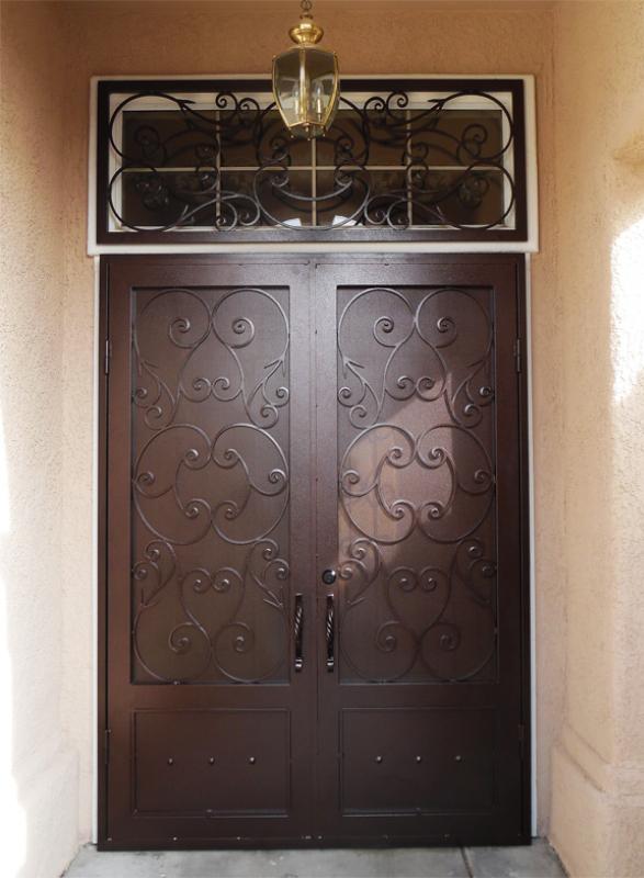Scrollwork Double Security Door - Item Biscay FD0159 Wrought Iron Design In Las Vegas