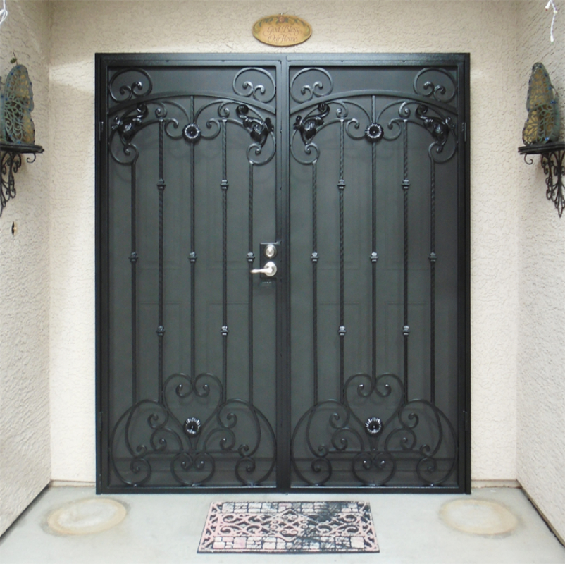 Scrollwork Double Security Door - Item Cappella FD0036A Wrought Iron Design In Las Vegas