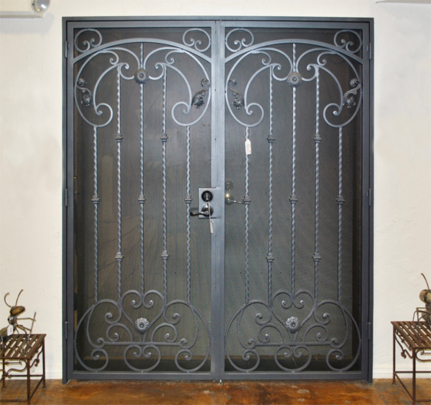 Scrollwork Double Security Door - Item Cappella FD0036A_Showroom Wrought Iron Design In Las Vegas