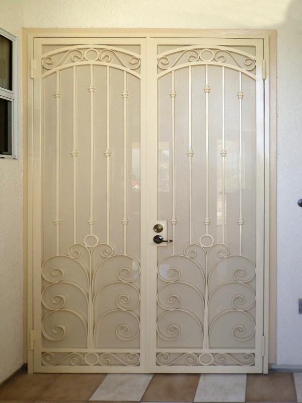 Scrollwork Double Security Door - Item Chattanooga FD0076 Wrought Iron Design In Las Vegas