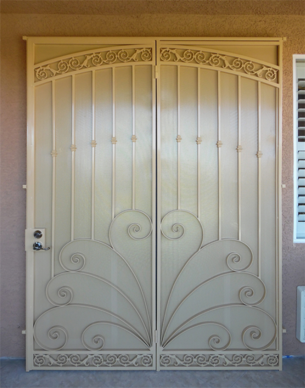 Scrollwork Double Security Door - Item Chattanooga FD0076A Wrought Iron Design In Las Vegas