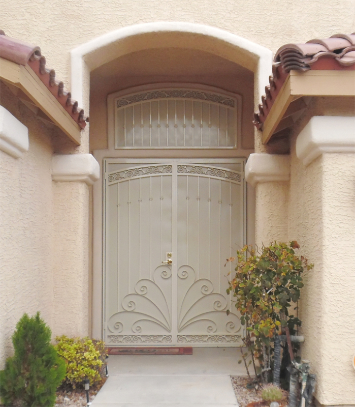 Scrollwork Double Security Door - Item Chattanooga FD0076AWG Wrought Iron Design In Las Vegas
