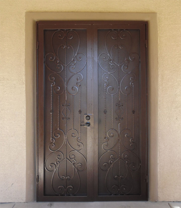 Scrollwork Double Security Door - Item Coco FD0085A Wrought Iron Design In Las Vegas