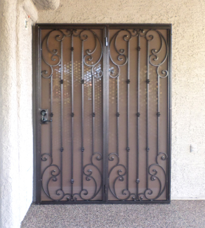Scrollwork Double Security Door - Item Corsica FD0117_Patio Wrought Iron Design In Las Vegas