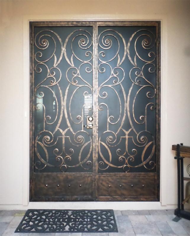 Scrollwork Double Security Door - Item Glasgow FD0089A Wrought Iron Design In Las Vegas