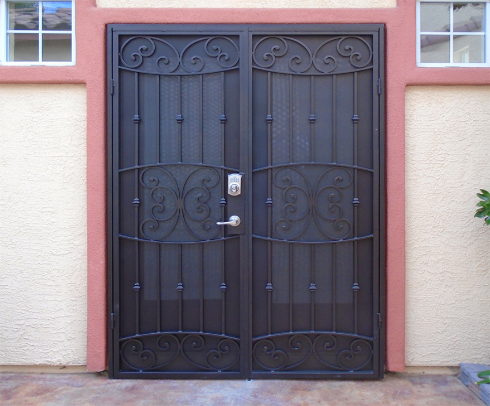 Scrollwork Double Security Door - Item Lyon FD0148 Wrought Iron Design In Las Vegas