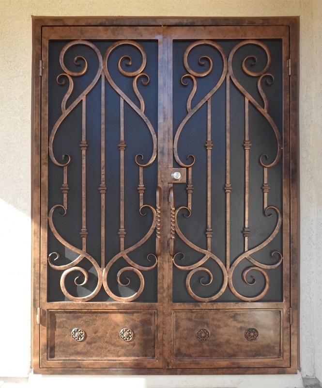 Scrollwork Double Security Door - Item Mozart FD0065 Wrought Iron Design In Las Vegas