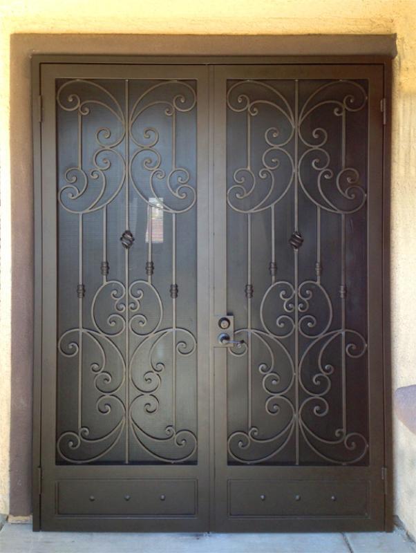 Scrollwork Double Security Door - Item Papillion FD0100 Wrought Iron Design In Las Vegas