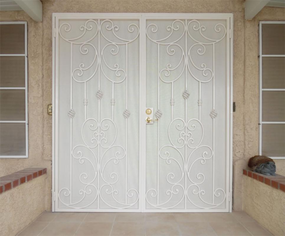 Scrollwork Double Security Door - Item Papillion FD0100A Wrought Iron Design In Las Vegas
