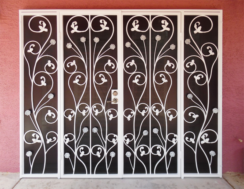 Scrollwork Double Security Door - Item Venice FD0132 Wrought Iron Design In Las Vegas