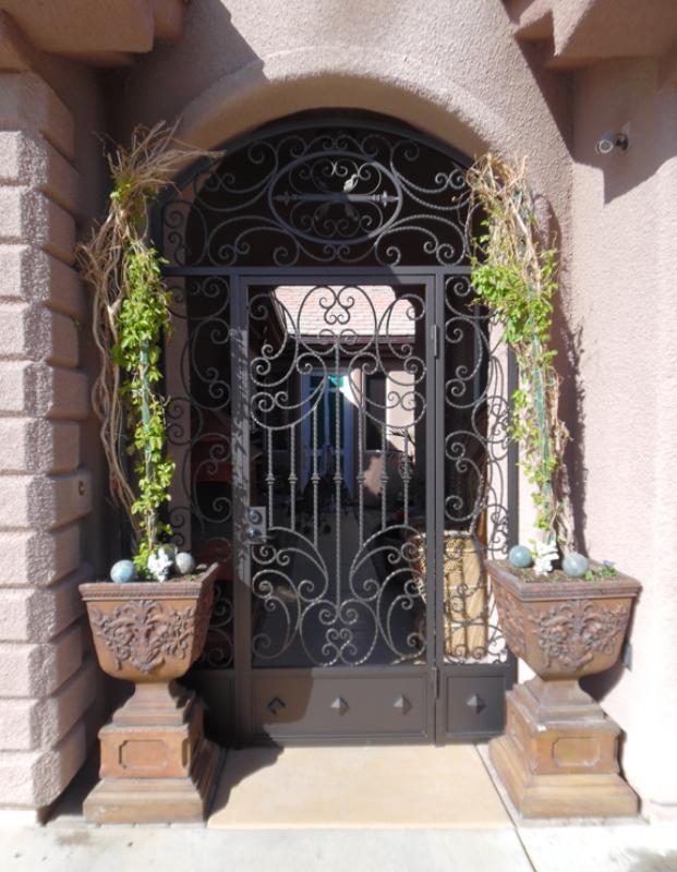 Scrollwork Fiona Entryway Door - Item EW0498B Wrought Iron Design In Las Vegas