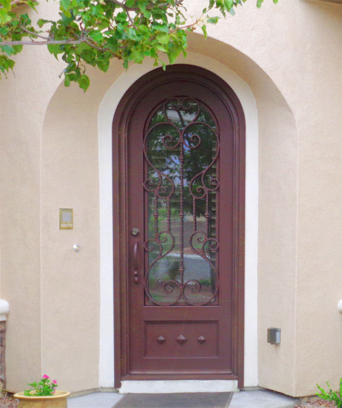 Scrollwork Front Door - Item Biscay GE0167 Wrought Iron Design In Las Vegas