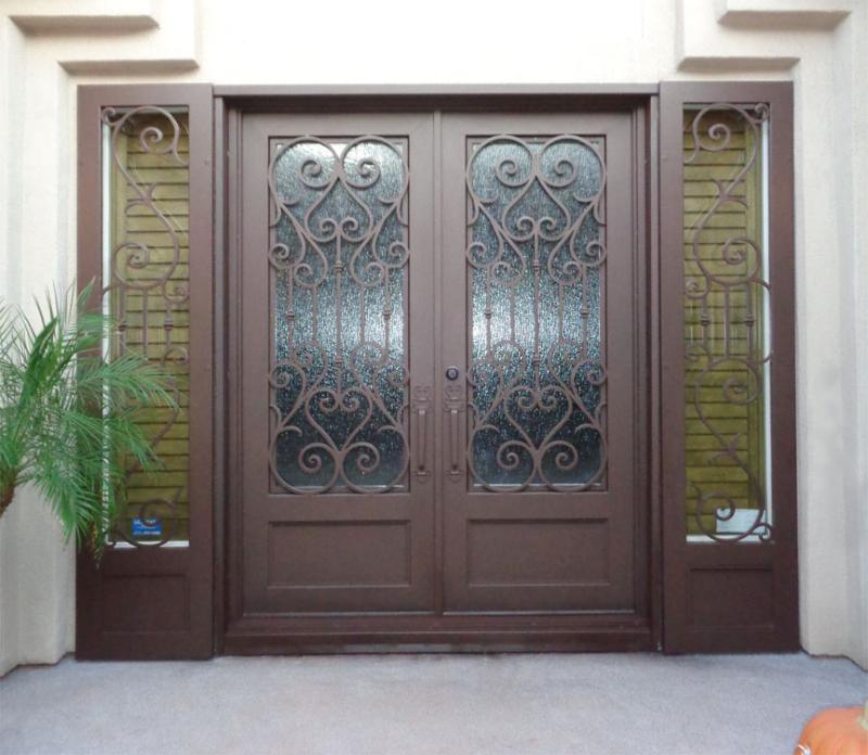 Scrollwork Front Door - Item Biscay GE0185 Wrought Iron Design In Las Vegas