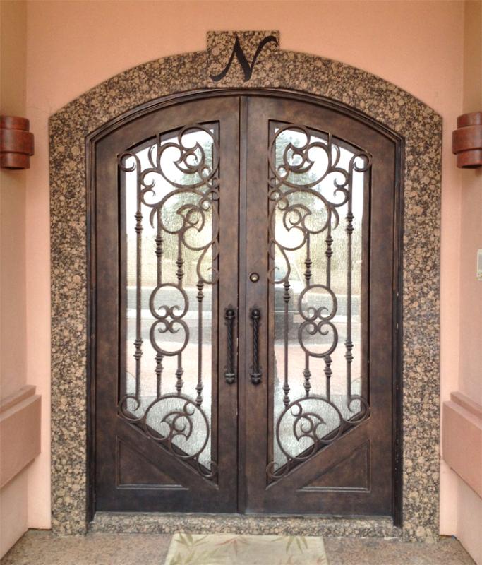 Scrollwork Front Door - Item Clover GE0149 Wrought Iron Design In Las Vegas