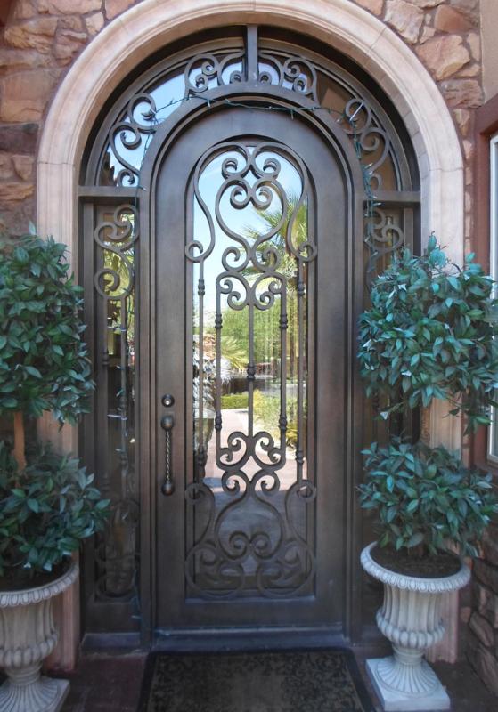 Scrollwork Front Door - Item Duchess GE0122 Wrought Iron Design In Las Vegas