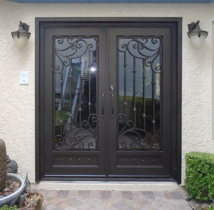 Scrollwork Front Door - Item Melodia GE0189A Wrought Iron Design In Las Vegas