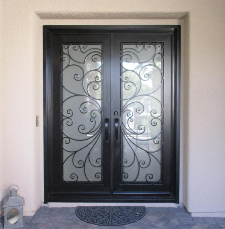 Scrollwork Front Door - Item Ricci GE0153A Wrought Iron Design In Las Vegas