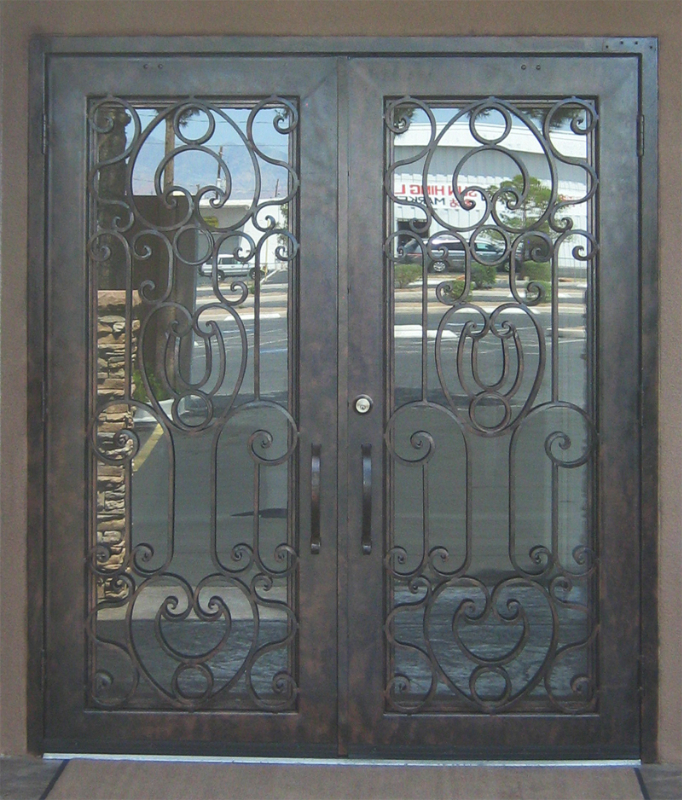 Scrollwork Front Door - Item Saharan GE0047 Wrought Iron Design In Las Vegas